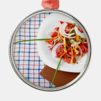 small portion of vegetarian salad metal ornament