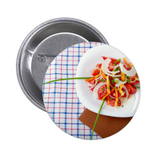 small portion of vegetarian salad pinback button