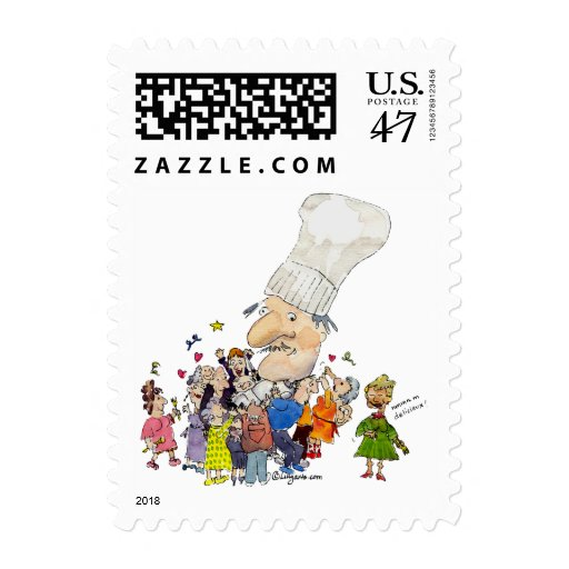 Small Postage Funny Cartoon French Chef