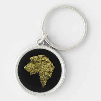 Small Premium Round Wolfhound Key Ring (Gold) Silver-Colored Round Keychain