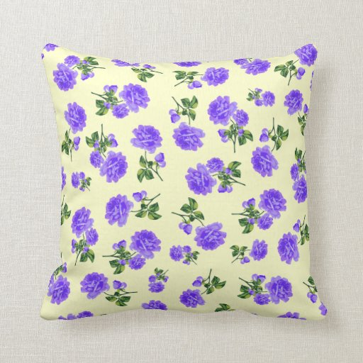 Small print purple flowers on cream cushion throw pillow