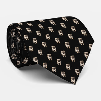 Small Pug Puppy Pattern on Black Neck Tie