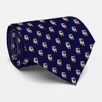 Small Pug Puppy Pattern on Dark Navy Blue Tie
