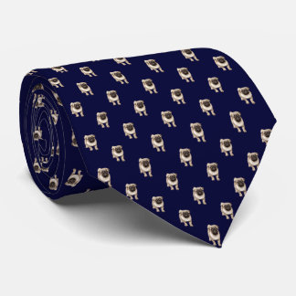 Small Pug Puppy Pattern on Dark Navy Blue Tie