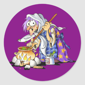 Small Purple Halloween Stickers With Purple Witch