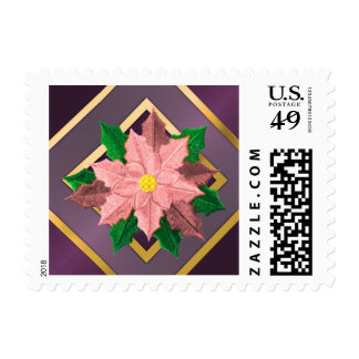 SMALL Purple Pink and Gold Poinsettia Stamps