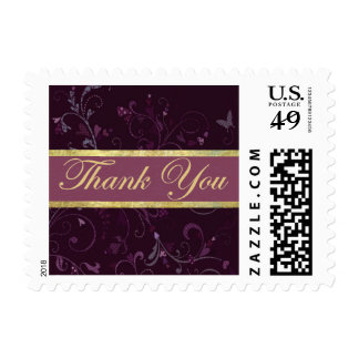 Small Purple & Plum Thank You Stamp