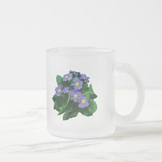 Small Purple Primroses Frosted Glass Coffee Mug
