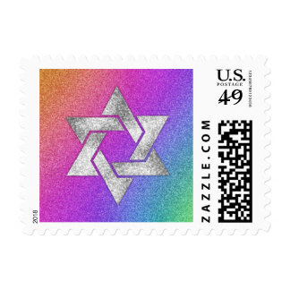 SMALL Rainbow Background with Star of David Postage Stamp