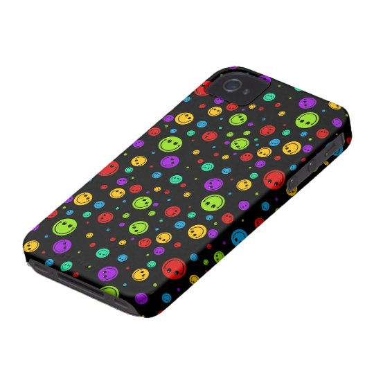Small Rainbow Smiley Polka Dots iPhone 4 Case-Mate Case