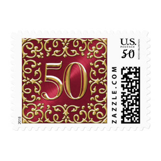 SMALL Red and Gold 50th Anniversary Postage Stamp