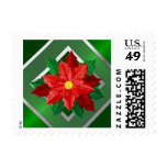 SMALL Red and Silver Poinsettia Postage Stamps