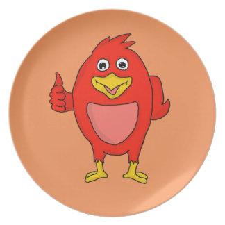 Small red bird design custom dinner plates