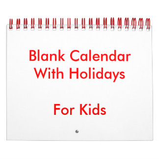 Small red blank calendar for kids holidays