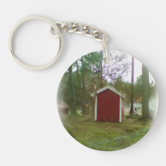 Small red building acrylic keychains