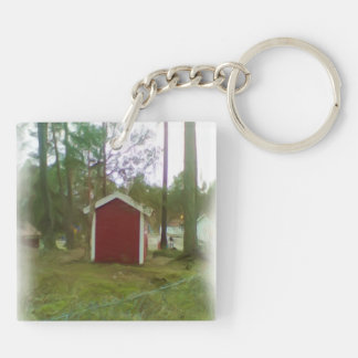 Small red building keychain