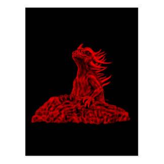 Small red dragon postcard