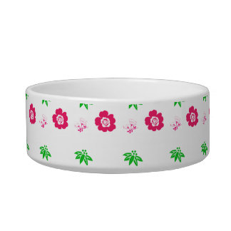 small red flowers and green leaves cat food bowls