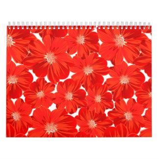 Small red flowers calendar