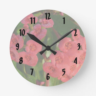 small red flowers with dew picture round clock