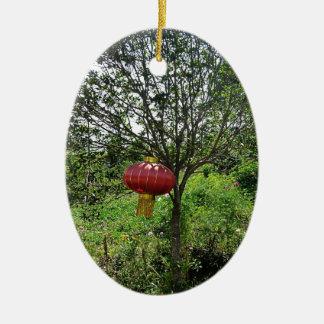 Small Red Lantern Ceramic Ornament