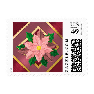 SMALL Red Pink and Gold Poinsettia Postage Stamp