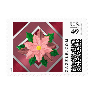 SMALL Red Pink and Silver Poinsettia Postage