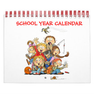 Small Red School Year Calendar For Kids