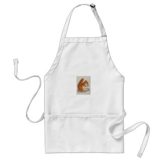 Small Red Squirrel via watercolor animal aceo Adult Apron