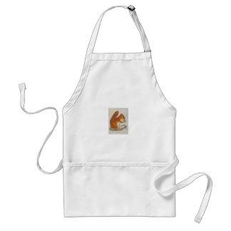 Small Red Squirrel via watercolor animal aceo Apron