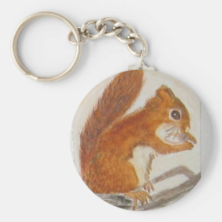 Small Red Squirrel via watercolor animal aceo Basic Round Button Keychain