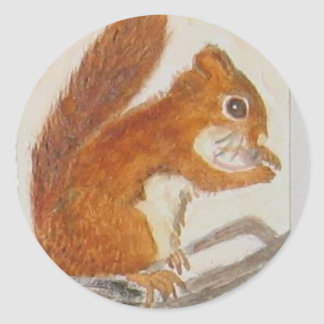 Small Red Squirrel via watercolor animal aceo Round Sticker