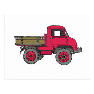 Small red vices, trucks postcard