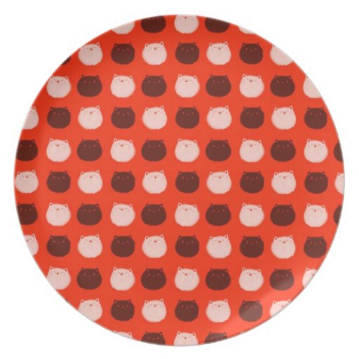 Small Round Cat Polka Dots Dinner Plates