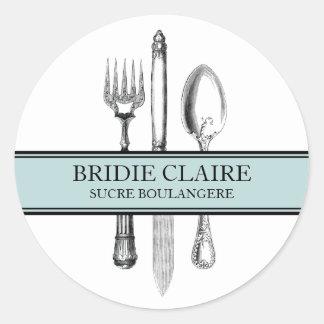 Small Round Elegant Cutlery Stickers