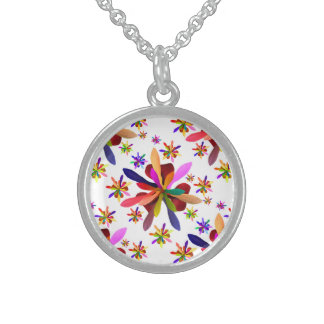 Small Round Necklace with Stylized Flower 1