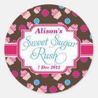 Small Round Sweet Sugar Rush Cute Cupcake Stickers