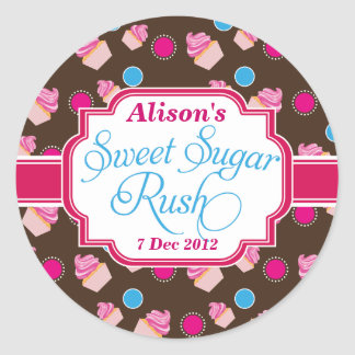Small Round Sweet Sugar Rush Cute Cupcake Stickers