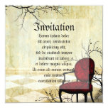 Small Royal Chair with Branches 5.25x5.25 Square Paper Invitation Card
