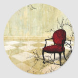 Small Royal Chair with Branches Classic Round Sticker