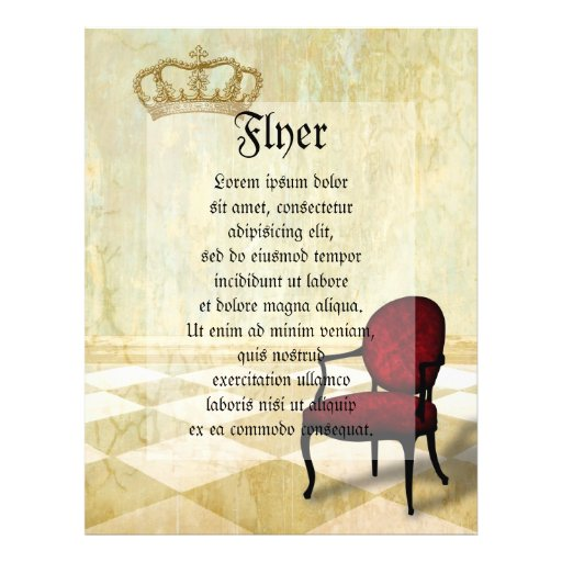 """Small Royal Chair with Crown 8.5"""" X 11"""" Flyer"""