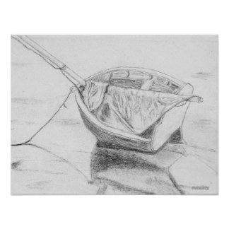 Small Sailboat on Beach Graphite Poster
