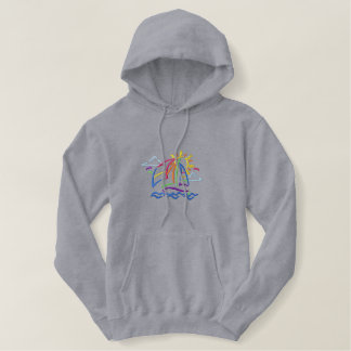 Small Sailboat Outline Embroidered Hoodie