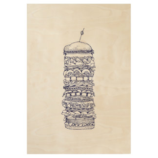 Small Sandwich Wood Poster