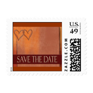 Small save the date gold and brown postage stamp