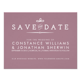 Small Save the Date in Purple Custom Invite