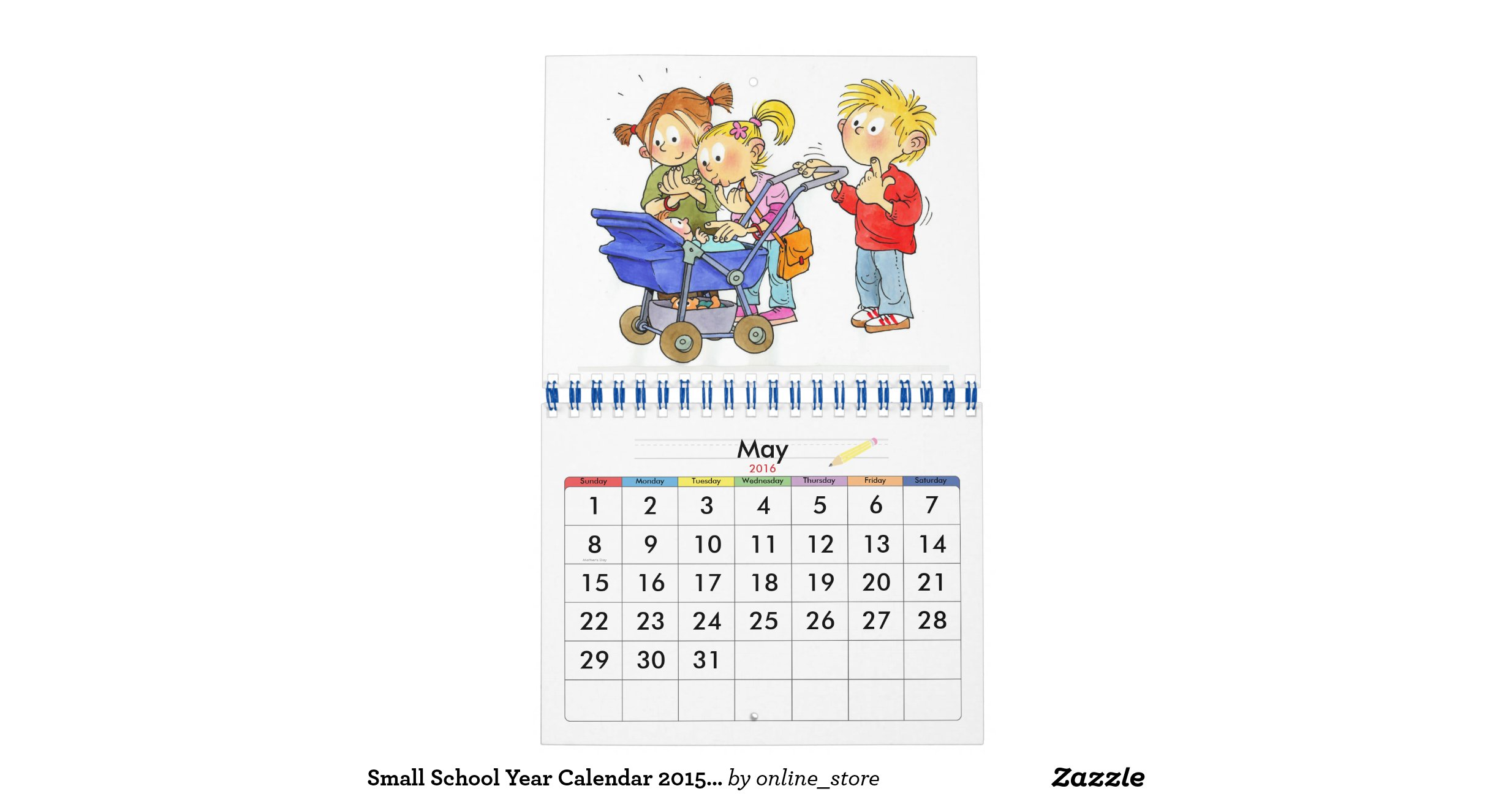 Year Calendar For Kids : Small school year calendar for kids zazzle