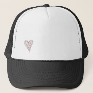 small scribbly heart on trucker hat