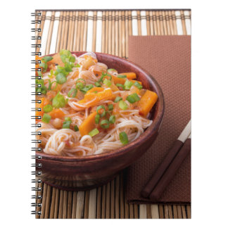 Small serving of rice vermicelli hu-teu with veget notebook