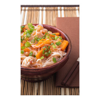 Small serving of rice vermicelli hu-teu with veget stationery